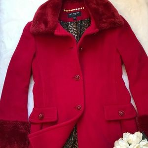 St. John Collection Red 100% Angora Coat w/fur SZ8